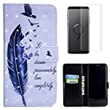 For Samsung Galaxy S9 Case with Card Slot,OYIME [Bird Feather and Saying] 3D Glitter Pattern Design Bookstyle Leather Wallet Holster Kickstand Function Full Body Protective Bumper Magnetic Closure Flip Cover with Wrist Lanyard and Screen Protector