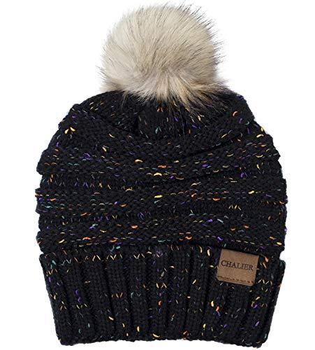 Chalier Womens Slouchy Winter Knit Beanie Hats Confetti Trendy Stretch Pom Pom Hat Ski Cap