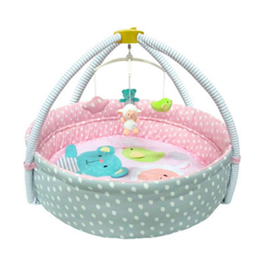 Alfombra De Bebé Con Barandilla Educación Temprana 3 En 1 Multifunción Infant Toddlers Alfombra Para Acondicionamiento Físico, Juegos, Actividades, Arcos Removibles,Pink
