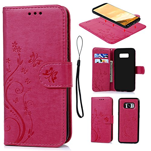 Pink Embossed Leather (Galaxy S8 Case, S8 Wallet Case Embossed Butterfly PU Leather Cover TPU Shock Rubber Bumper Folio Cover Detachable Magnetic Case Card Slots Wrist Strap for Samsung Galaxy S8 Hot Pink)
