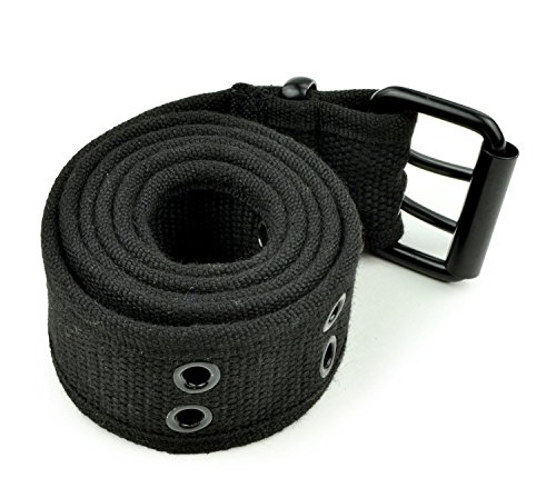 Canvas Cotton Belt (Belle Donne - Web Belt Double Grommet Adjustable Canvas Belt Military Style -)