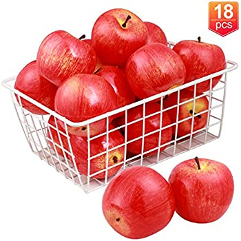 Fake Apples Lifelike Simulation Fruit for Home Kitchen Table Basket Decoration,3.15X 2.75 Toopify 12PCS Artificial Red Apples