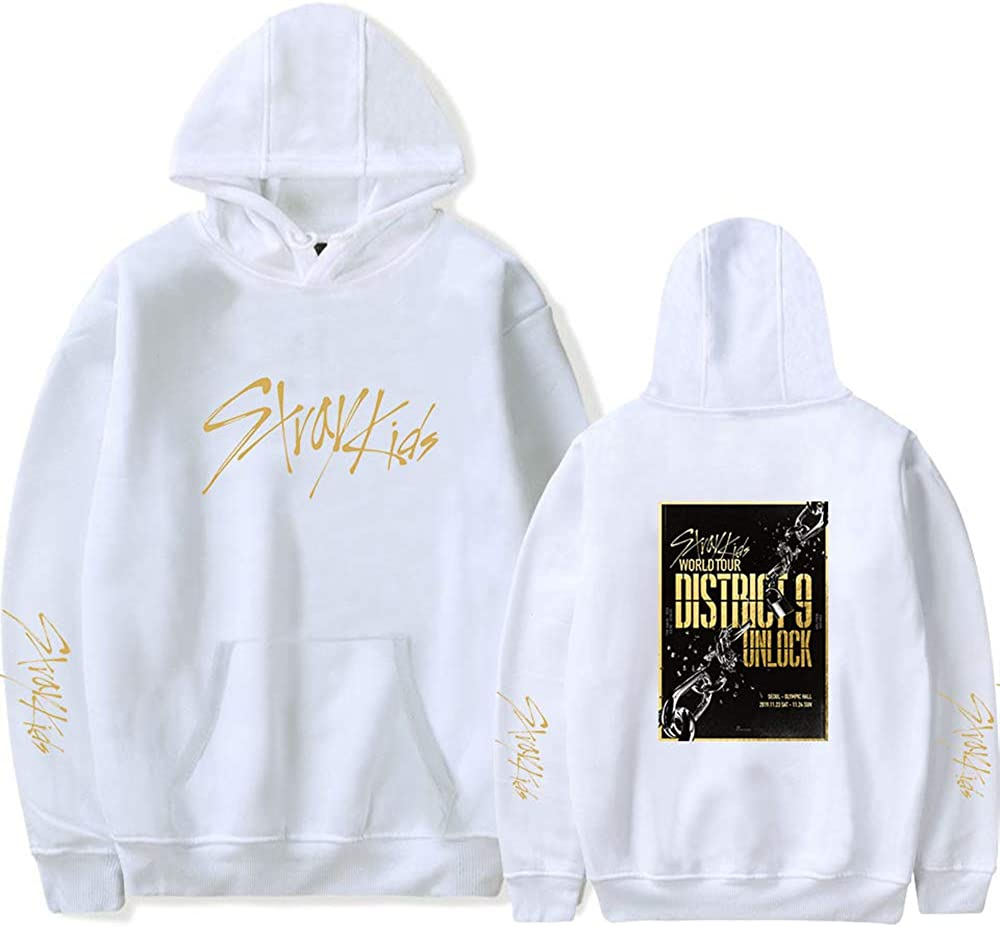 Unlock Hip Hop Felpa KPOP Felpe con Cappuccio per Uomo Donna Stray Kids Felpe Donna Hoodies Sweater Sweatshirt Pullover District 9
