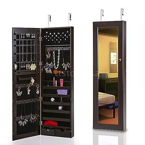Jewelry Cabinet Armoire Box Mirror Storage Wall Hanging Organizer Necklace Z1R3 Bonus free ebook - Door Recessed Honey Oak Cabinets