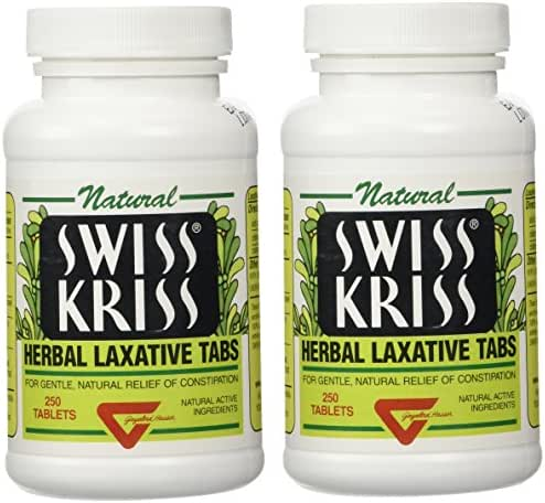Swiss Kriss Herbal Laxative Tablets, 250 Count, Pack of 2