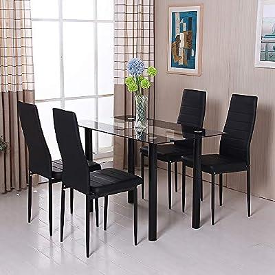 QIHANG-UK mesa de comedor y 4 sillas de cocina mesa de comedor de ...