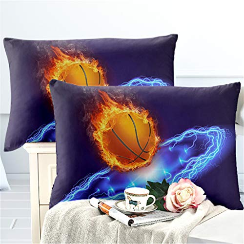 JARSON 2Piece 3D Fire Basketball Pillowcase King Size,Boys Teens Sports Design Pillow Case