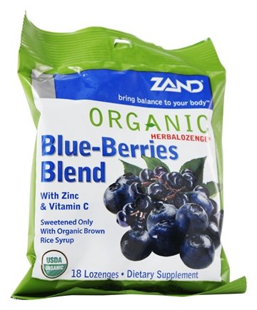 Zand - Herbalozenge Organic Blue-Berries Blend with Zinc & Vitamin C Elderberry Blueberry Flavor - 18 Lozenges.Pack of 2 by Zand