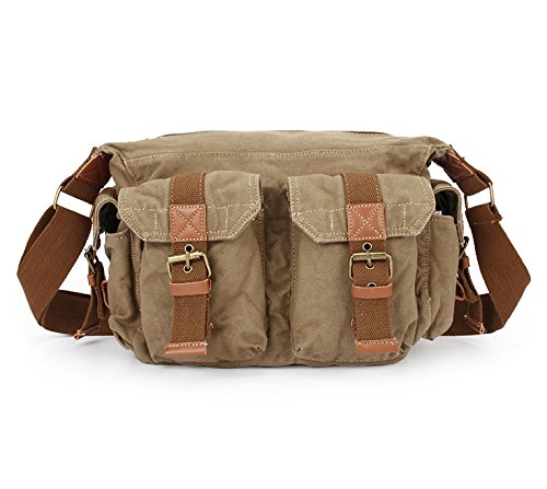 MiCoolker Men's Casual Satchel Bag Canvas Military Crossbody Shoulder Bag Daily Schoolbag Travel Messenger Purse for 13 inch Laptop Brown