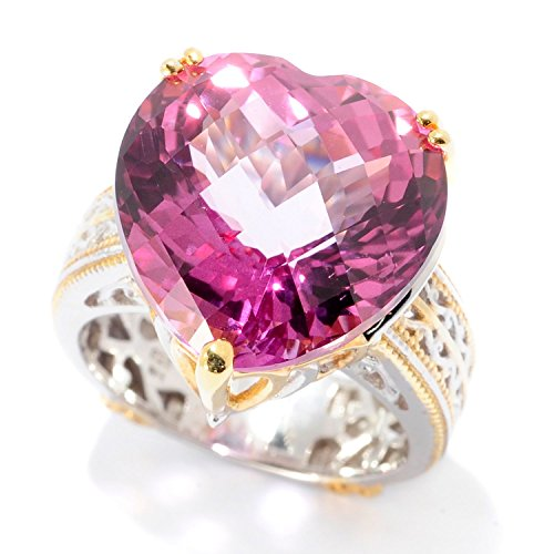 lladium Silver Heart Shaped Martha Rocha Color Topaz Ring (Hearts Ring Palladium Ring)