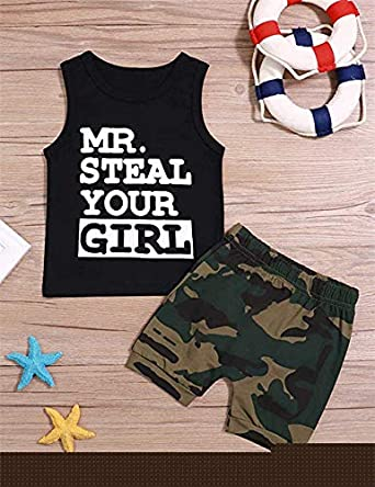 Camouflage Shorts Summer Outfit Set Infant Toddler Baby Boy Clothes Mr Steal Your Girl Vest