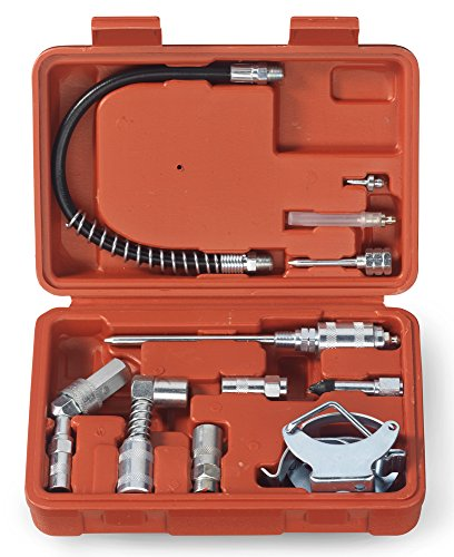 Tooluxe 61077L Grease Gun and Lubrication Accessory Kit | Zerk Fittings | Multi-Function