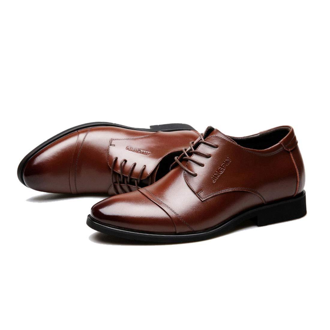 Jiyaru Mens Casual Oxford Lace Up Business Dress Wedding Shoes Brown Asian 41 / US 8 by Jiyaru (Image #3)