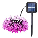 Qedertek Cherry Blossom Solar String Lights, 22ft 50 LED Waterproof Outdoor Decoration Lighting for Indoor/Outdoor, Patio, Lawn, Garden, Christmas, and Holiday Festivals (Pink)