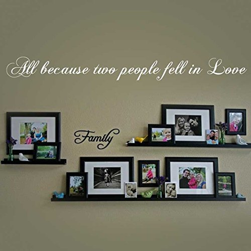 All because two people fell in love Vinyl Love Saying Love Wall Quote Couples Love Decal Wall Art Sticker Wall Graphic Wall Mural Bedroom Wall Decor Black