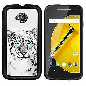 """Be-Star Único Patrón Plástico Duro Fundas Cover Cubre Hard Case Cover Para Motorola Moto E2 / E(2nd gen)( Enfriar Snow Leopard Negro Gato Blanco Animal"""" )"""