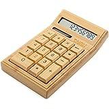 Sengu Bamboo Wooden Solar Calculators Standard Function Desktop Calculator with 12-digit Large Display