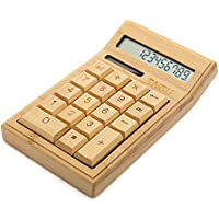Sengu Bamboo Wooden Solar Calculators Standard Function Desktop Calculator with 12-digit Large Display