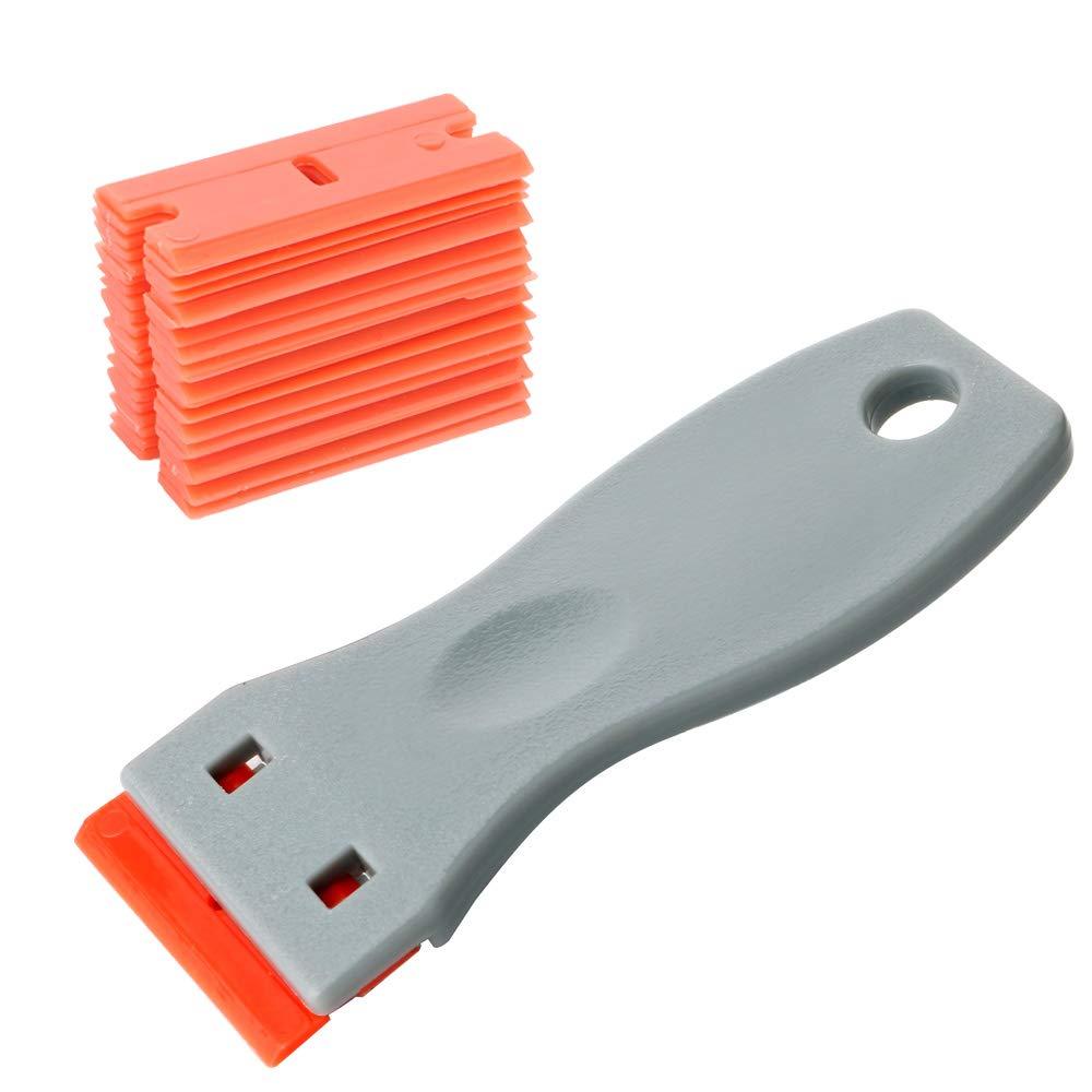 Gebildet Mini Rascador para la Eliminación de Pegamento de Vinilo, Adhesiva y Película de Ventana, Vidrio, Piso con 20 piezas Cuchillas de Plástico