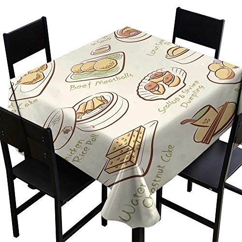 Thanksgiving Tablecloth Set of Chinese Food,W50 x L50 for Bistro Table