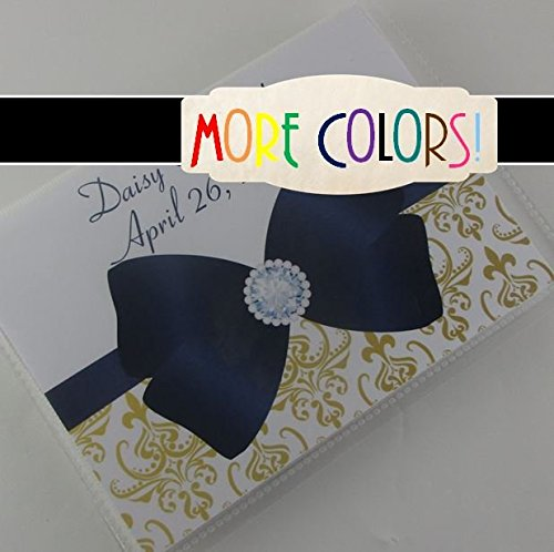 Engagement Photo Album 597 Gold Damask with navy bow personalized wedding photo book anniversary 4x6 or 5x7