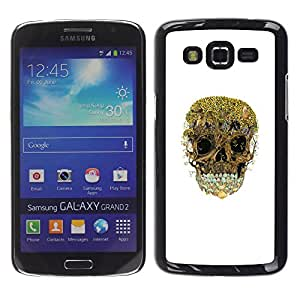 Shell-Star Arte & diseño plástico duro Fundas Cover Cubre Hard Case Cover para Samsung Galaxy Grand 2 II / SM-G7102 / SM-G7105 ( Trees Forest Skull Nature Deep White )