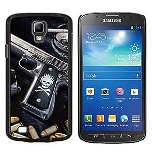 Qstar Arte & diseño plástico duro Fundas Cover Cubre Hard Case Cover para Samsung Galaxy S4 Active i9295 (Cráneo Killer gangsters Pistola y puntos negros)