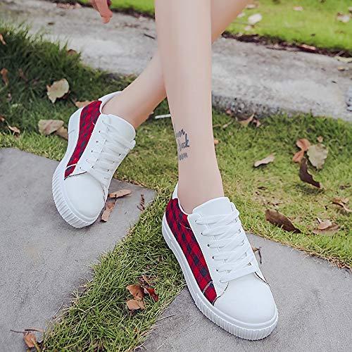 Red Scarpe ZHZNVX Round Flat Heel Blu donna Toe PU Sneakers poliuretano Casual da Comfort Rosso Fall ZHrqdHw