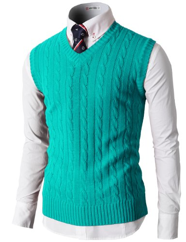H2H Mens Casual Knitted Slim Fit V-neck Vest With Twisted Patterned MINT US XL/Asia 2XL (KMOV037)
