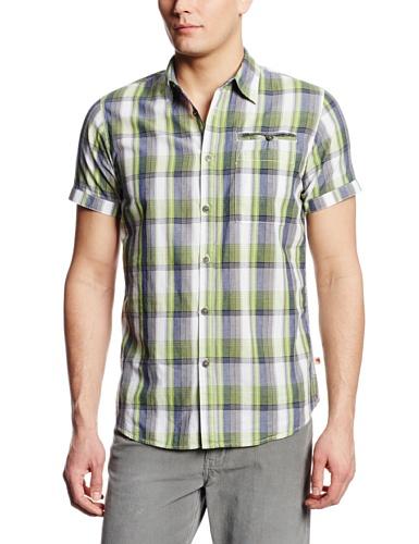 Dakota Grizzly Men's Cody Short Sleeve Plaid Shirt, Palm, Medium