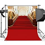 Mehofoto Red Carpet Backdrop Gorgeous Palace Photography Backdrops Red Carpet Lighting Stage Vinyl Background 5x7 Photo Studio Props