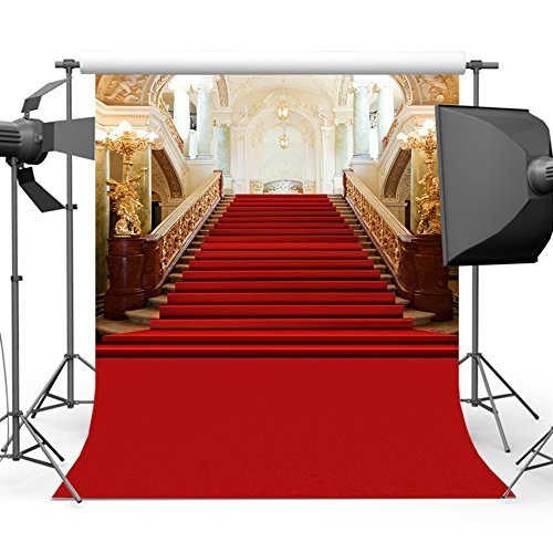 Mehofoto Red Carpet Backdrop Gorgeous Palace Photography Backdrops Red Carpet Lighting Stage Vinyl Background 5x7 Photo Studio Props from Mehofoto