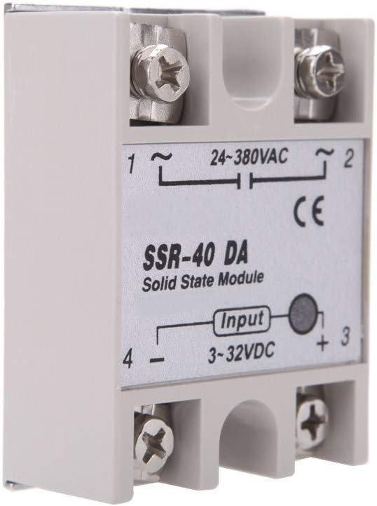 Goodplan SSR-40DD Halbleiterrelais Einphasig Halbleiterrelais SSR-40DD 40A DC3-32V DC5-60V Wei/ß Silber