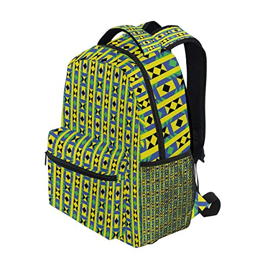 Funky Borders - KVMV Geometric Vertical Borders Funky Colorful Native Kenya Design with Triangles Lightweight School Backpack Students College Bag Travel Hiking Camping Bags