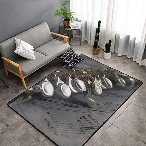 Karen Felix Non-Slip Area Rugs Door Mats - Flute Music Musical Notes Floor Mat Living Room Bedroom Carpets Doormats Home Decor 60 X 39 in]()
