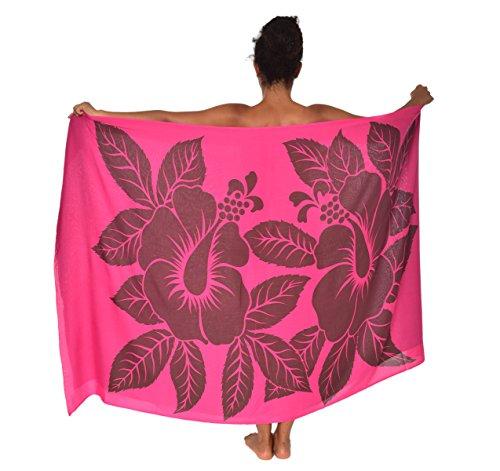 casualmovements Big Hibiscus Flowers Hawaii Sarong Pareo BeachWrap Swimsuit Coverup Pink/Brown