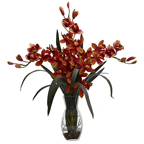- Nearly Natural 1322-BG Triple Cymbidium with Vase Arrangement, Burgundy