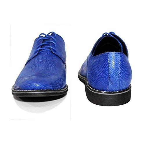 Modello Herren Italienisch Handgemachtes Leder Schnürhalbschuhe Leder Geprägtes Schnüren Rindsleder Blau Brusso Oxfords Abendschuhe OIrqO