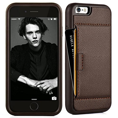 ZVE Case for Apple iPhone 6s and iPhone 6, 4.7 inch, Slim Leather Wallet Case with Credit Card Holder Slot Pocket Protective Case Cover for Apple iPhone 6 / 6s - Dark Brown