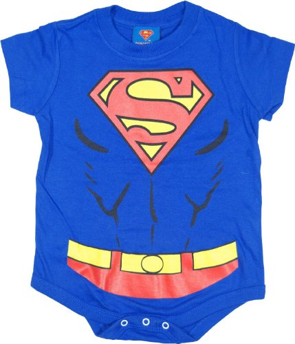 Superman Costume Uniform Blue Snapsuit Infant Baby Romper (24 Months)