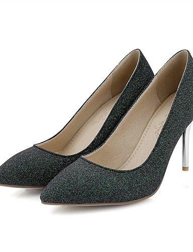 GGX/ Damen-High Heels-Lässig-Kunststoff-Stöckelabsatz-Absätze / Spitzschuh / Geschlossene Zehe-Grün / Gold green-us5 / eu35 / uk3 / cn34