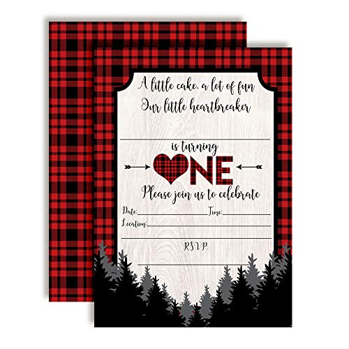 (Our Little Heartbreaker First Birthday Red and Black Buffalo Plaid Valentine Party Invitations, 20 5
