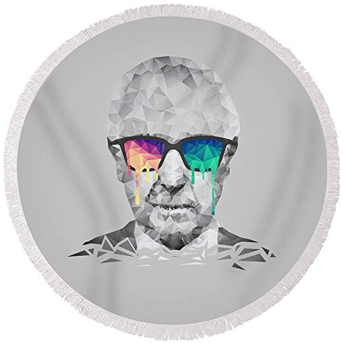 Pixels Round Beach Towel With Tassels featuring ''Albert Hofmann - Psychedelic Polygon Crystalised Portrait'' by Philipp Rietz by Pixels