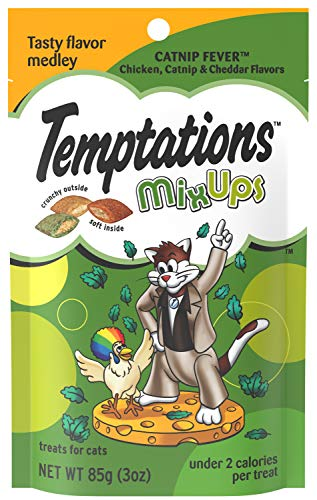 TEMPTATIONS MixUps Treats for Cats CATNIP FEVER Flavor 3 Ounces  (Pack of 12)