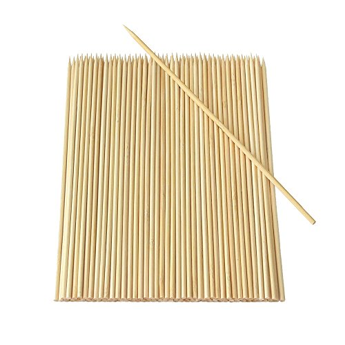(Yu family 200 Pieces Natural BBQ Bamboo Skewers 10 inch for Shish Kabob, Grill, Appetizer, Fruit, Corn, Chocolate Fountain, Cocktail and More Food eco Friendly and Healthy)
