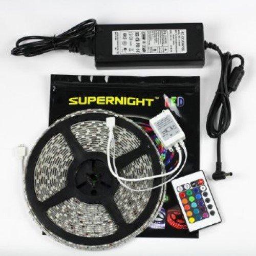 SUPERNIGHT 32.8ft 10M Waterproof Flexible Strip 600leds Color Changing RGB SMD5050 LED Light Strip...