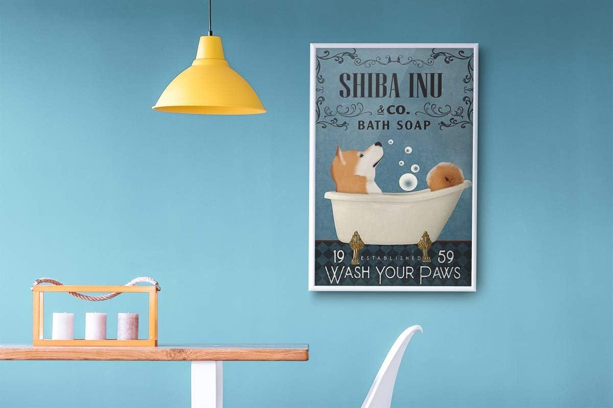 Shiba Inu in bathtub wash your paws poster