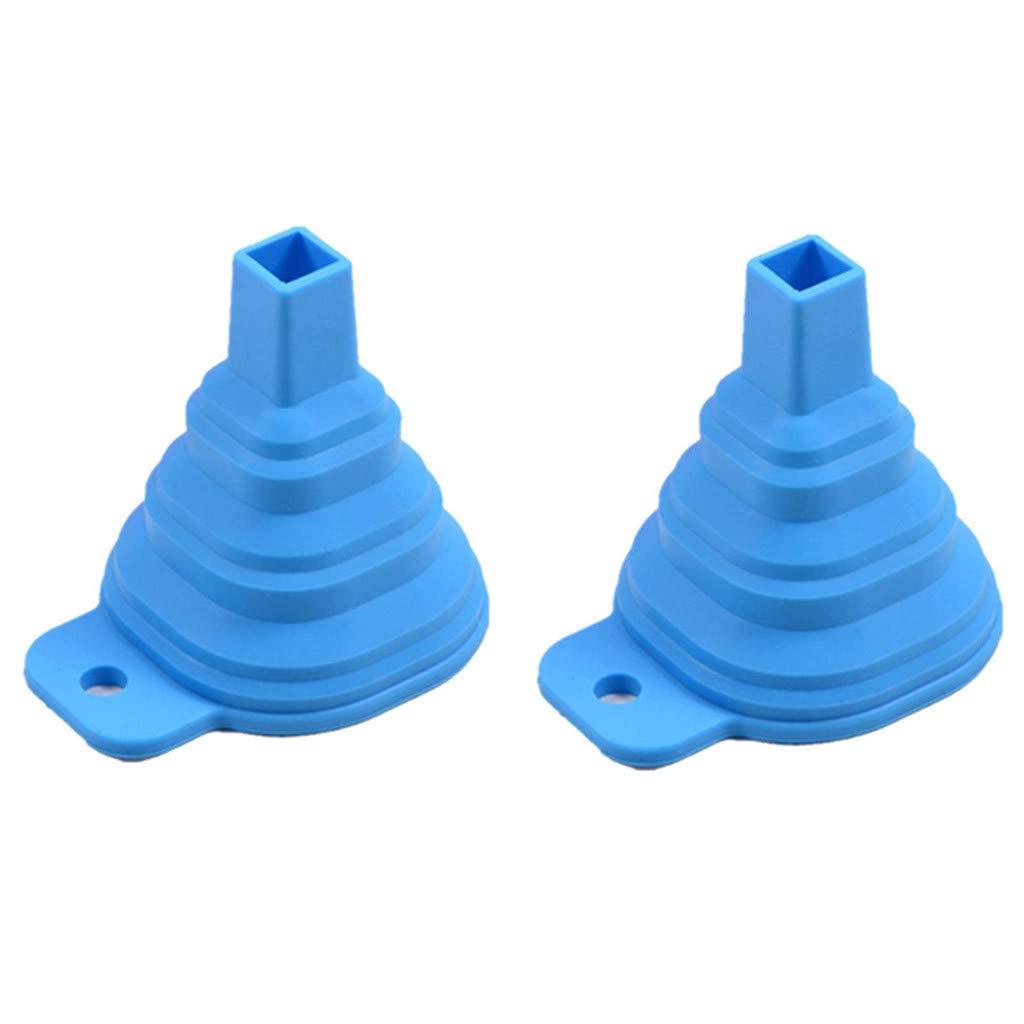JDgoods Kitchen Home Mini Food Grade Silicone Folding Telescopic Funnel for Water/Oil/Fruit Juice/Liquid Transfer 2 PCS (Blue)