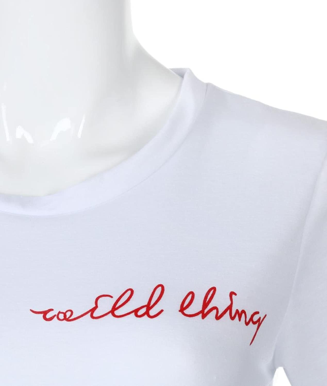 MRULIC Damen Sommer Frauen Damen O Neck T-Shirt Kurzarm Brief Print ...