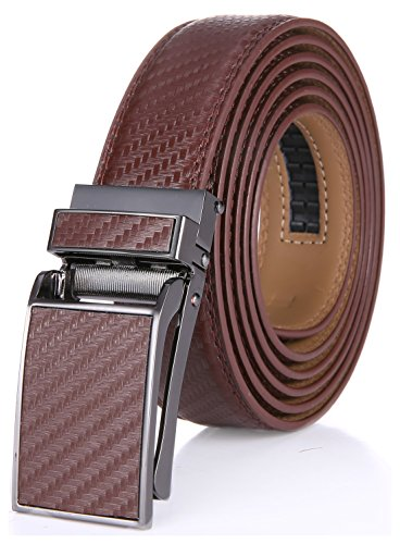 (Marino Avenue Men's Genuine Leather Ratchet Dress Belt with Linxx Buckle - Gift Box (Tan Weave Design Leather Buckle with Tan Leather, Adjustable from 28
